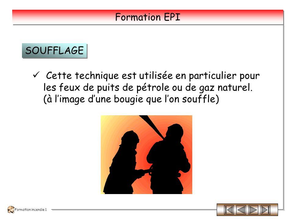 Formation incendie 1 Formation EPI Les différents éléments sont séparés, donc diminution de la température, ce qui entraîne un arrêt progressif de la combustion.
