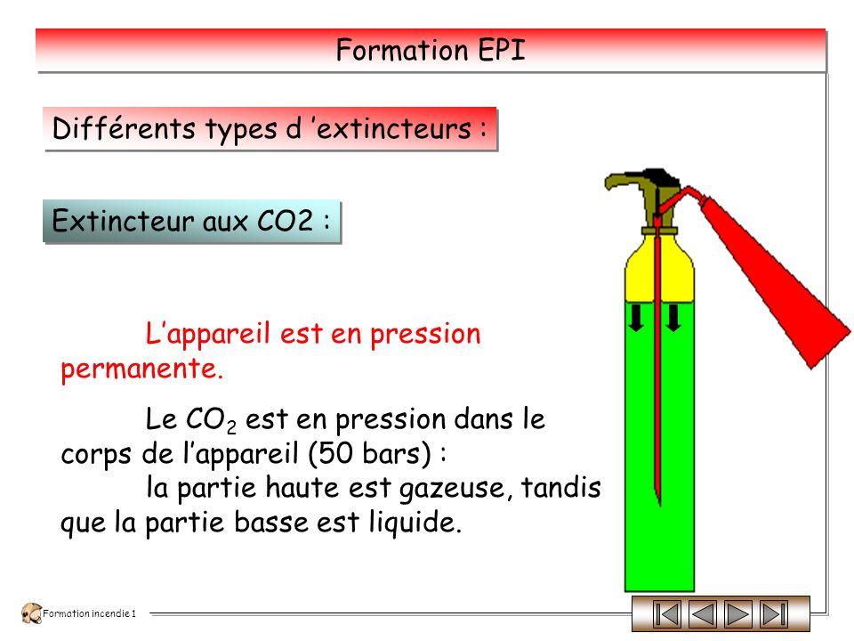 Formation incendie 1 Formation EPI Lappareil est sous pression après avoir actionné le percuteur.