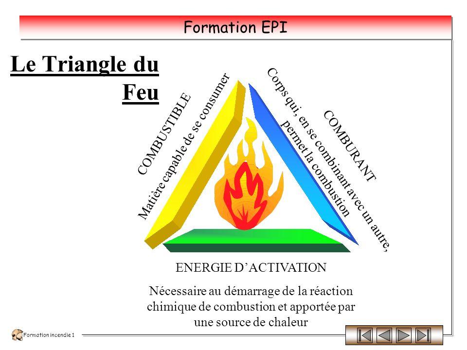 Formation incendie 1 Formation EPI La combustion : une réaction exothermique ++ La combustion est une réaction chimique, particulièrement exothermique, qui seffectue en phase gazeuse.