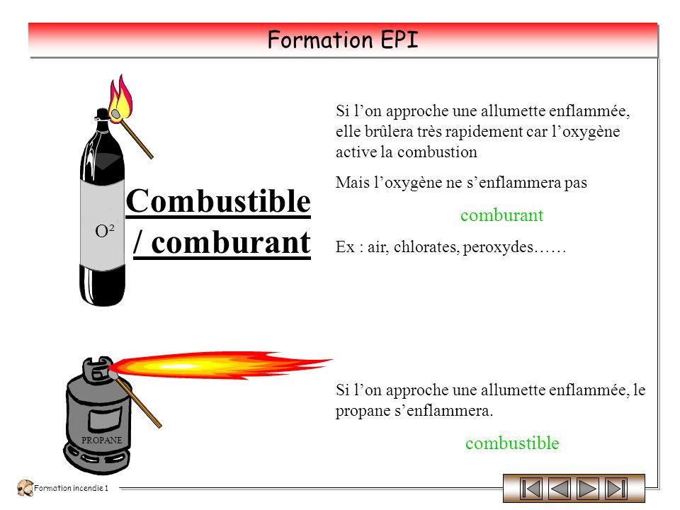 Formation incendie 1 Formation EPI Le Triangle du Feu COMBUSTIBLE Matière capable de se consumer COMBURANT Corps qui, en se combinant avec un autre, permet la combustion ENERGIE DACTIVATION Nécessaire au démarrage de la réaction chimique de combustion et apportée par une source de chaleur