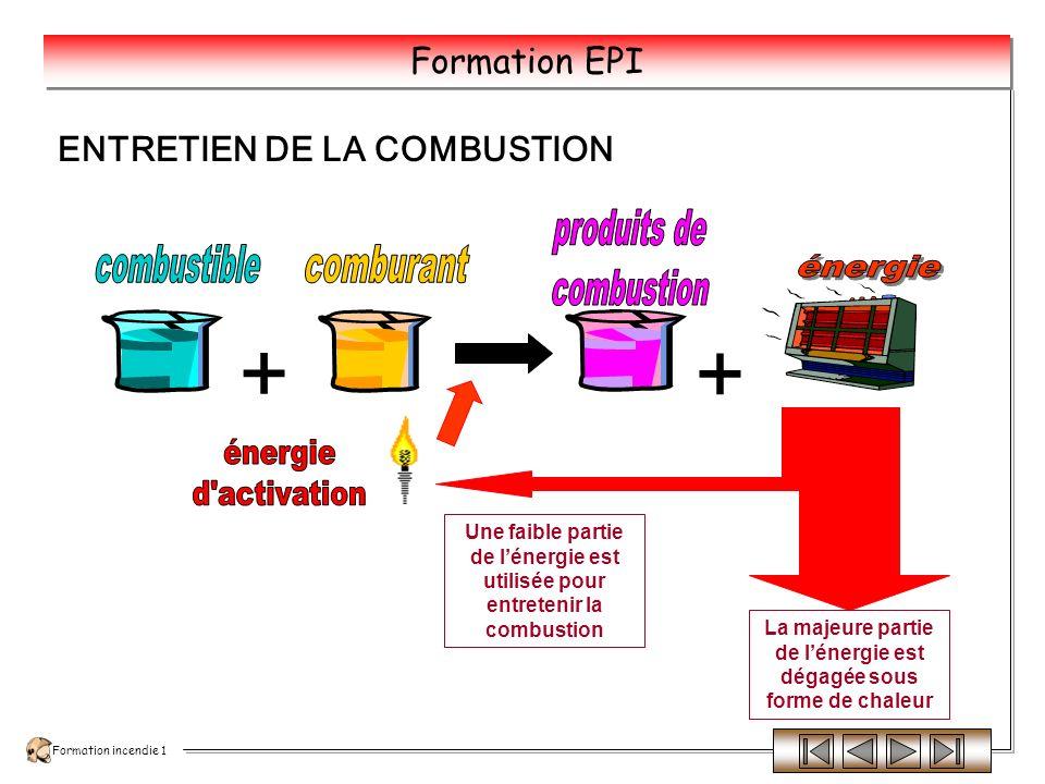 Formation incendie 1 Formation EPI O² Si lon approche une allumette enflammée, elle brûlera très rapidement car loxygène active la combustion Mais loxygène ne senflammera pas Loxygène est un comburant Ex : air, chlorates, peroxydes…… Si lon approche une allumette enflammée, le propane senflammera.