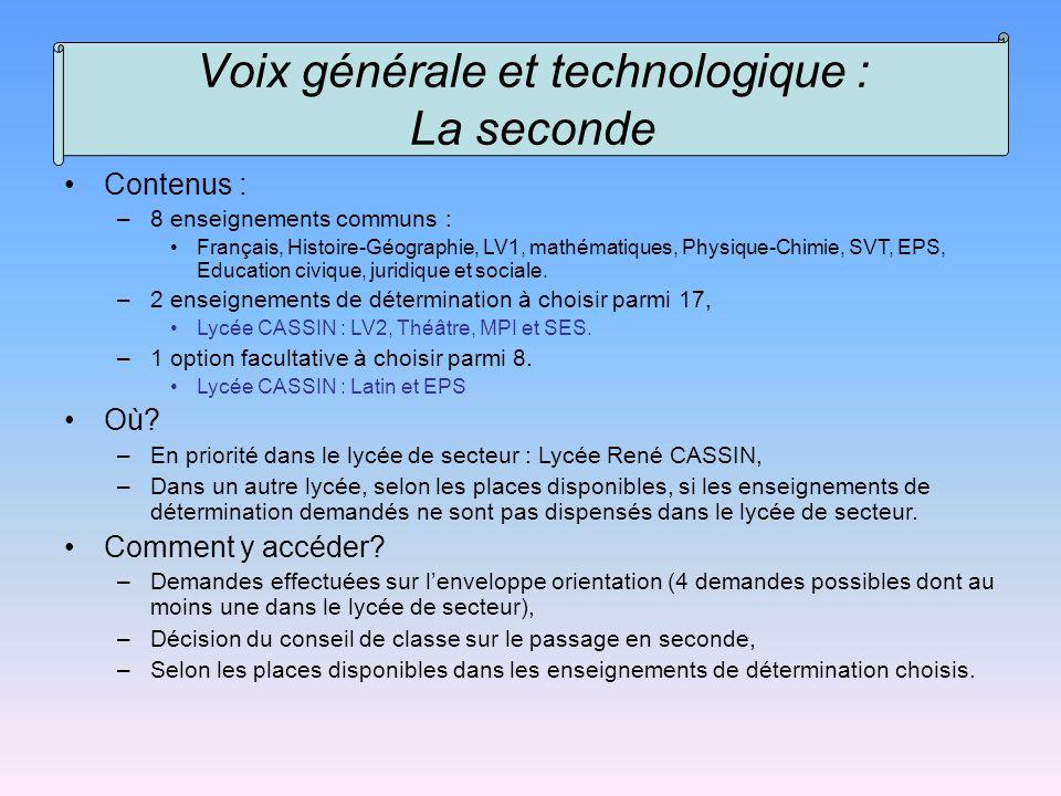 Voix générale et technologique : La seconde Contenus : –8 enseignements communs : Français, Histoire-Géographie, LV1, mathématiques, Physique-Chimie,