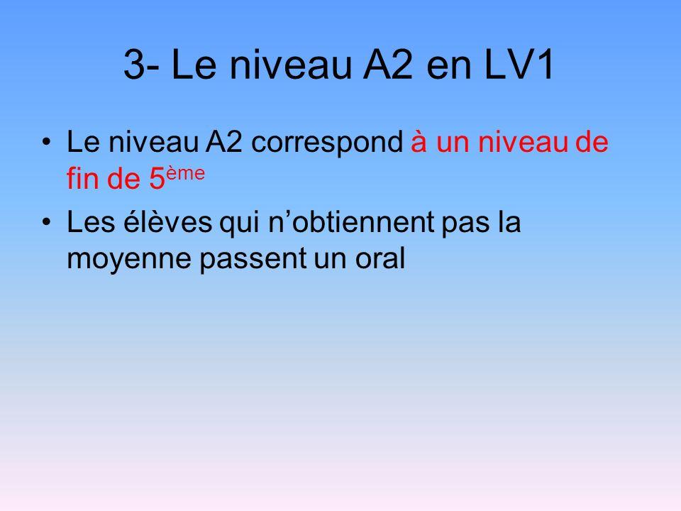 3- Le niveau A2 en LV1 Le niveau A2 correspond à un niveau de fin de 5 ème Les élèves qui nobtiennent pas la moyenne passent un oral