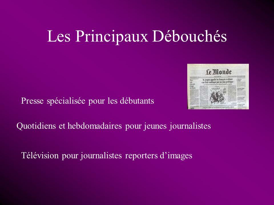 Les Principaux Débouchés Presse spécialisée pour les débutants Quotidiens et hebdomadaires pour jeunes journalistes Télévision pour journalistes reporters dimages