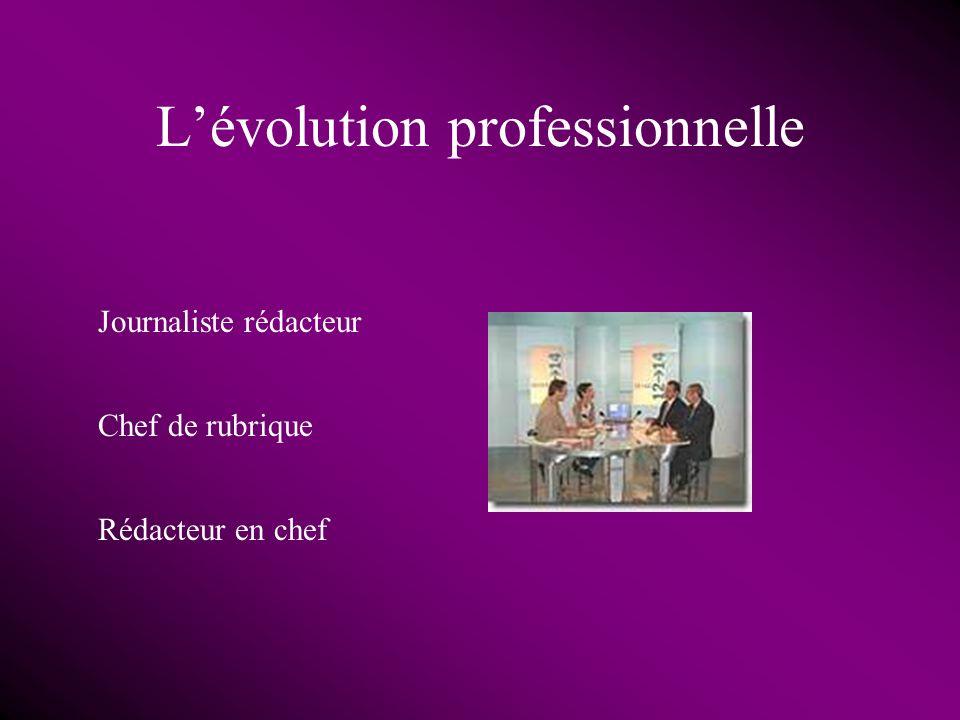 Lévolution professionnelle Journaliste rédacteur Chef de rubrique Rédacteur en chef