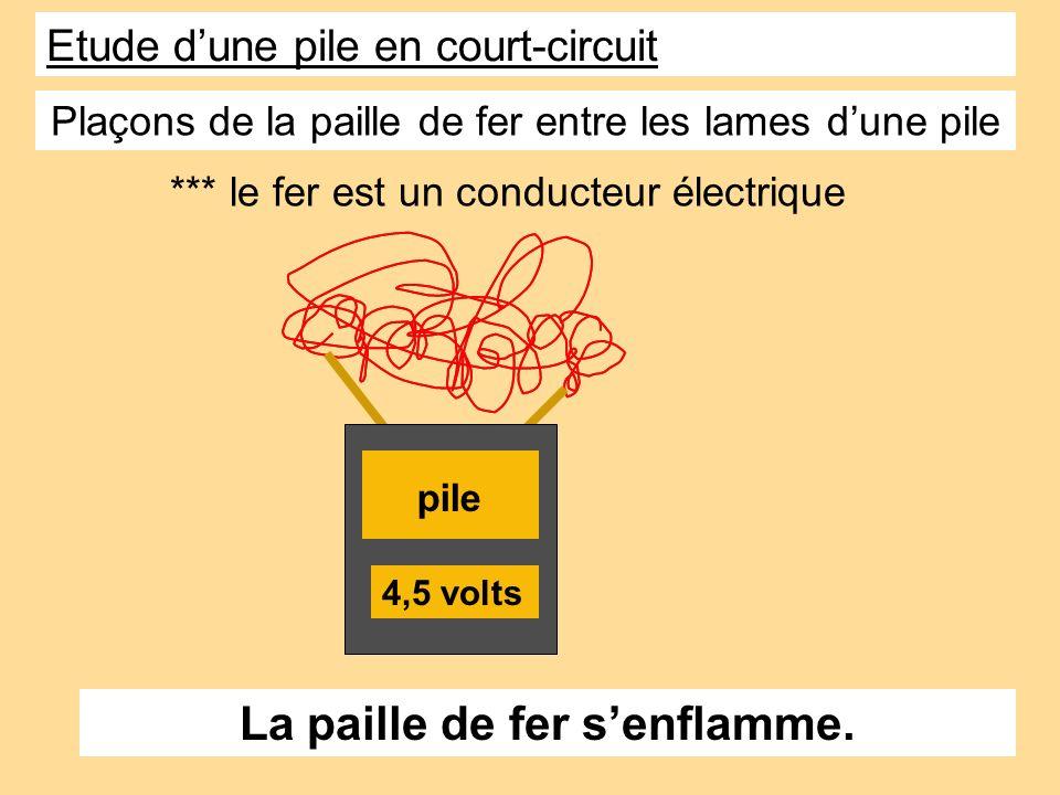4,5 volts pile Plaçons de la paille de fer entre les lames dune pile La paille de fer senflamme. *** le fer est un conducteur électrique Etude dune pi