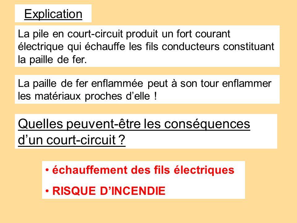 La pile en court-circuit produit un fort courant électrique qui échauffe les fils conducteurs constituant la paille de fer. La paille de fer enflammée