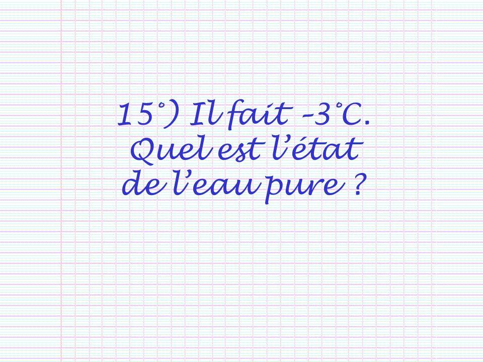 15°) Il fait –3°C. Quel est létat de leau pure ?