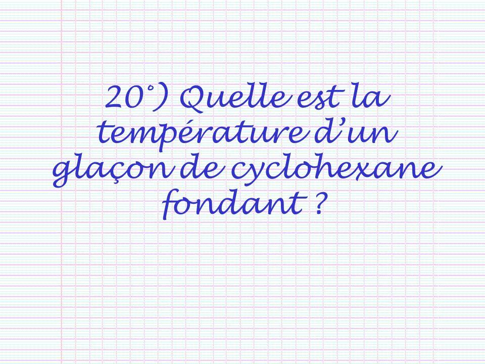 20°) Quelle est la température dun glaçon de cyclohexane fondant ?
