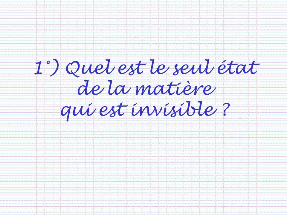 1°) Quel est le seul état de la matière qui est invisible ?