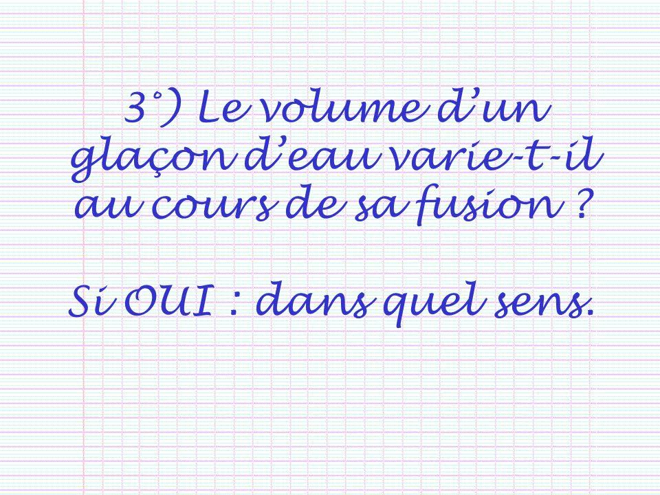 3°) Le volume dun glaçon deau varie-t-il au cours de sa fusion ? Si OUI : dans quel sens.