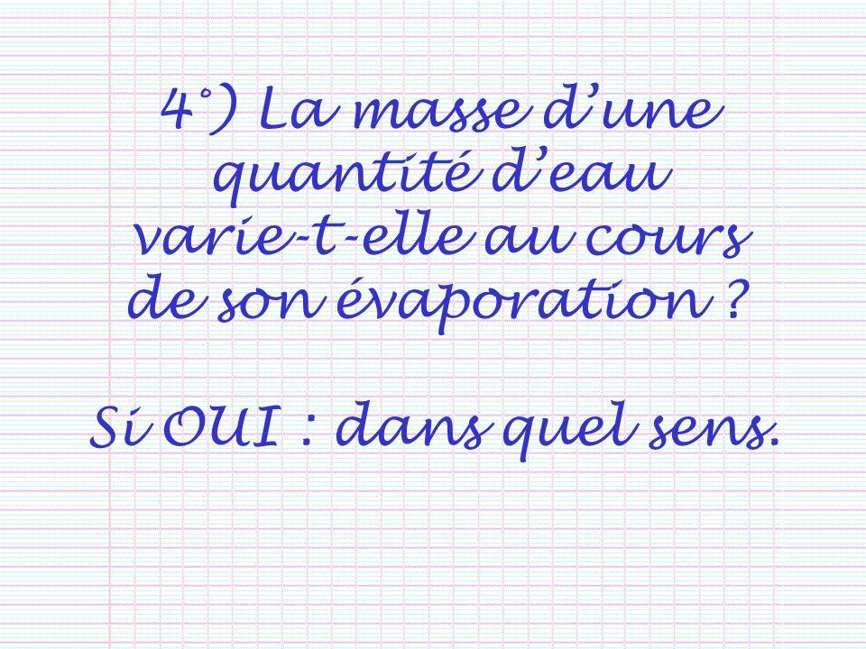 4°) La masse dune quantité deau varie-t-elle au cours de son évaporation ? Si OUI : dans quel sens.