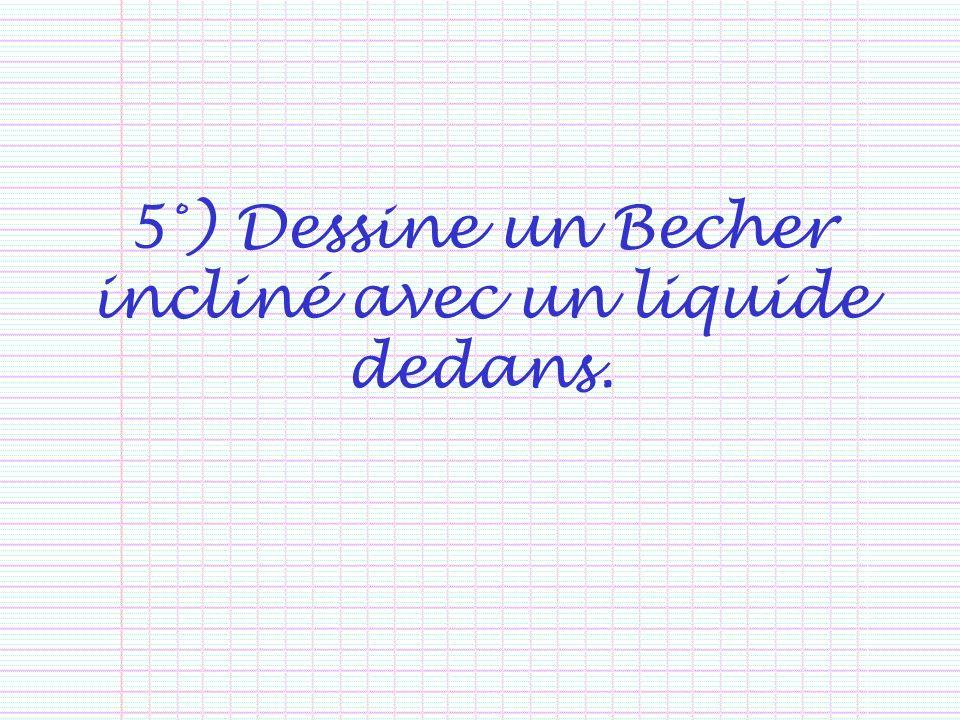 5°) Dessine un Becher incliné avec un liquide dedans.