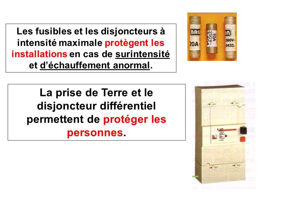 Les fusibles et les disjoncteurs à intensité maximale protègent les installations en cas de surintensité et déchauffement anormal. La prise de Terre e