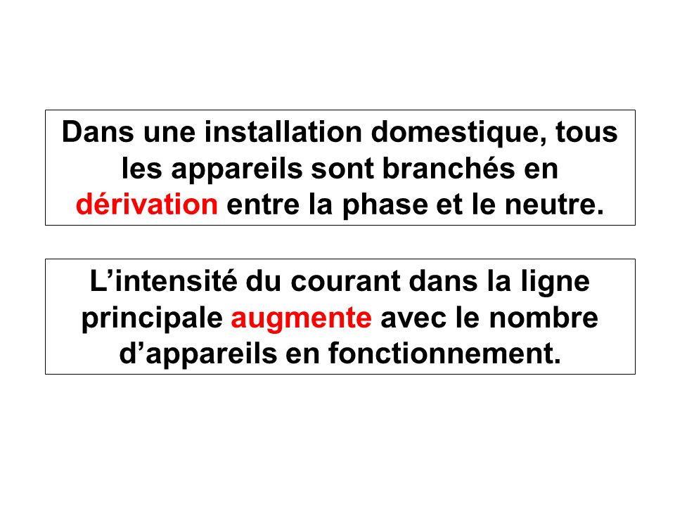 Dans une installation domestique, tous les appareils sont branchés en dérivation entre la phase et le neutre. Lintensité du courant dans la ligne prin