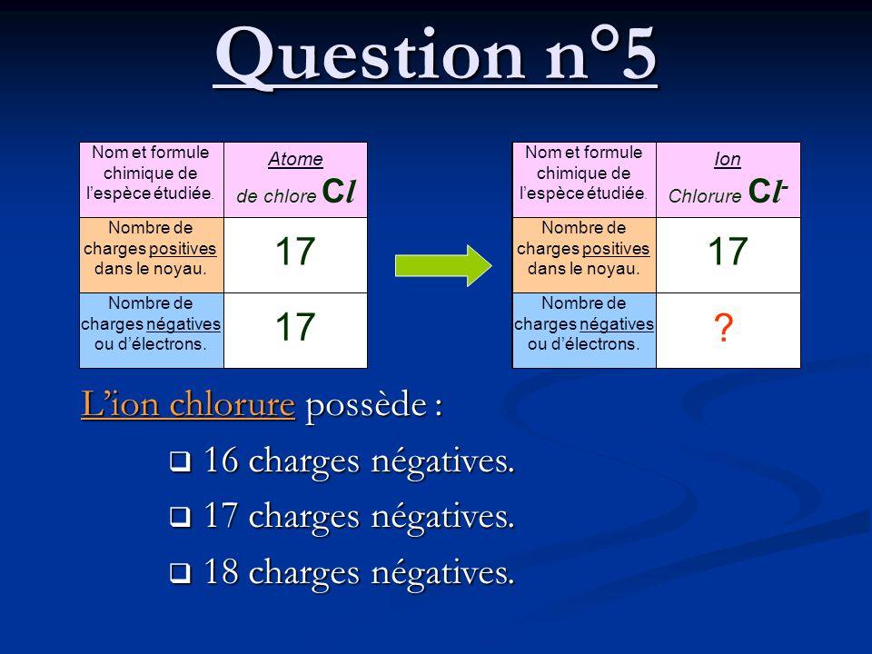 Question n°5 Lion chlorure possède : 16 charges négatives. 16 charges négatives. 17 charges négatives. 17 charges négatives. 18 charges négatives. 18