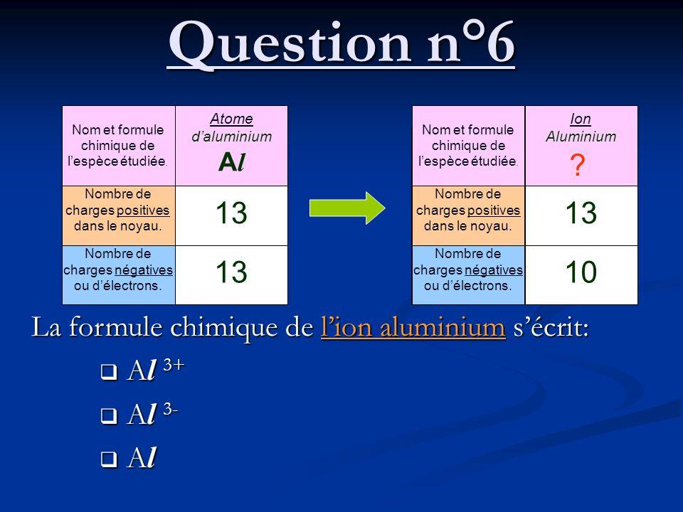 Question n°6 La formule chimique de lion aluminium sécrit: A l 3+ A l 3+ A l 3- A l 3- A l A l Nom et formule chimique de lespèce étudiée. Nombre de c