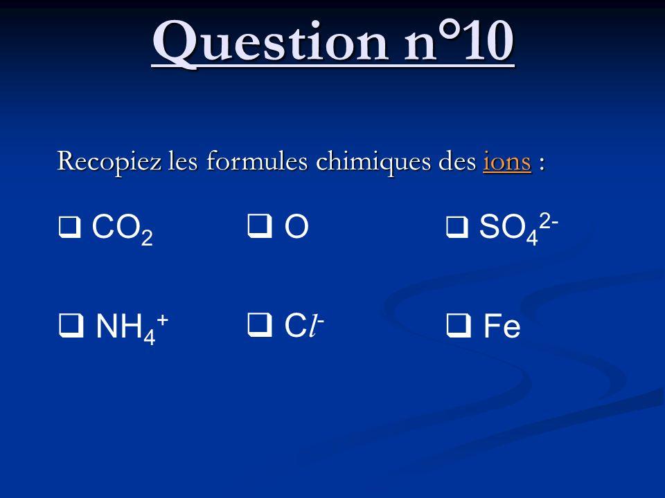 Question n°10 Recopiez les formules chimiques des ions : CO 2 NH 4 + O C l - SO 4 2- Fe