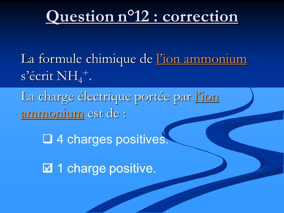 La formule chimique de lion ammonium sécrit NH 4 +. La charge électrique portée par lion ammonium est de : 4 charges positives. 1 charge positive. Que