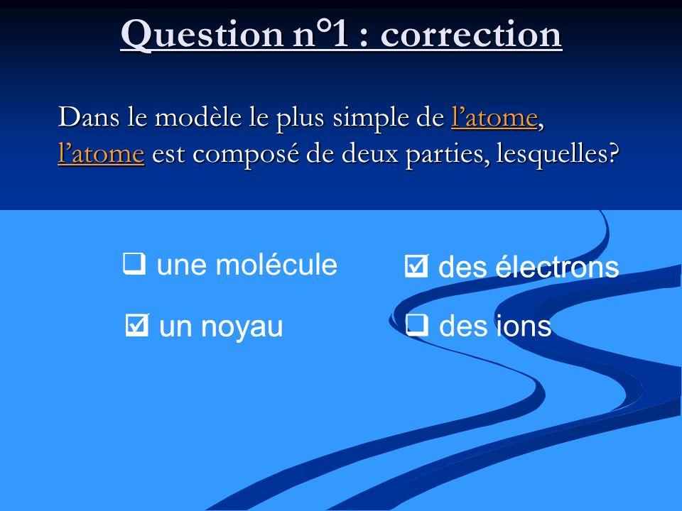 Question n°1 : correction Dans le modèle le plus simple de latome, latome est composé de deux parties, lesquelles? une molécule un noyau des électrons