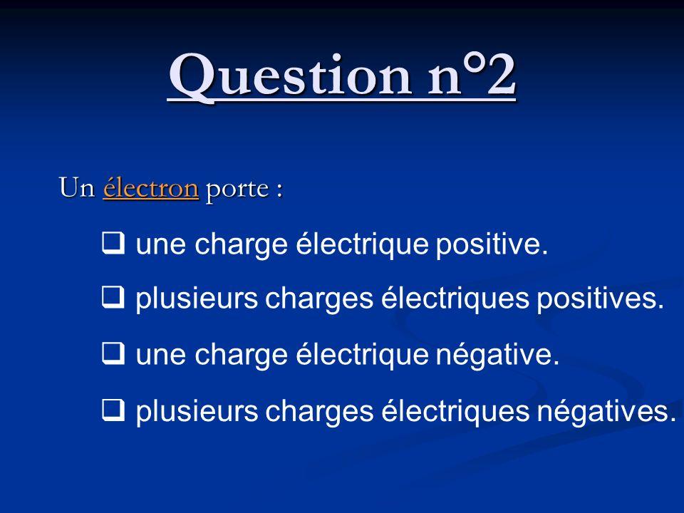 Question n°2 Un électron porte : une charge électrique positive. plusieurs charges électriques positives. une charge électrique négative. plusieurs ch