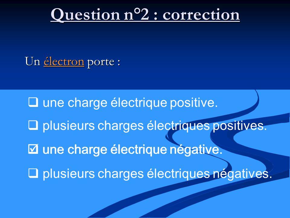 Question n°2 : correction Un électron porte : une charge électrique positive. plusieurs charges électriques positives. une charge électrique négative.