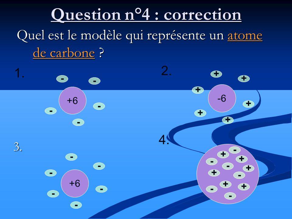 Quel est le modèle qui représente un atome de carbone ? Quel est le modèle qui représente un atome de carbone ?3. +6 - - - - - - Question n°4 : correc