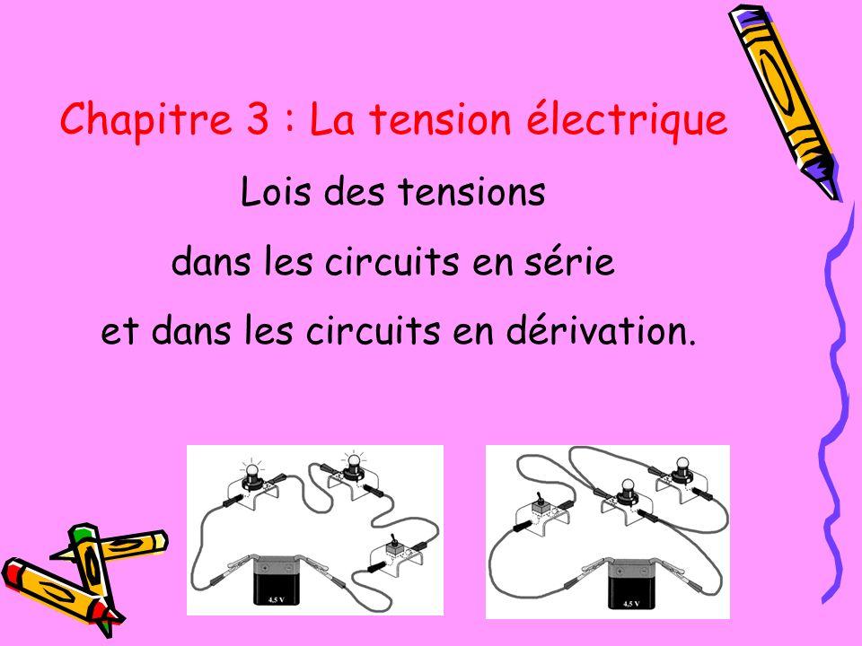 Chapitre 3 : La tension électrique Lois des tensions dans les circuits en série et dans les circuits en dérivation.