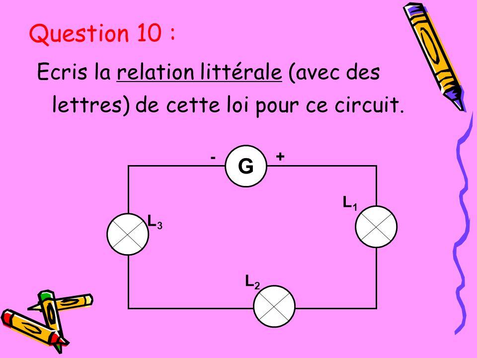 Ecris la relation littérale (avec des lettres) de cette loi pour ce circuit. G L2L2 L1L1 L3L3 -+ Question 10 :