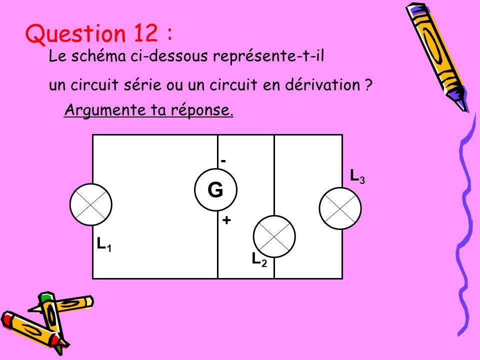 Le schéma ci-dessous représente-t-il un circuit série ou un circuit en dérivation ? Argumente ta réponse. L3L3 L1L1 L3L3 - + G L2L2 L1L1 Question 12 :