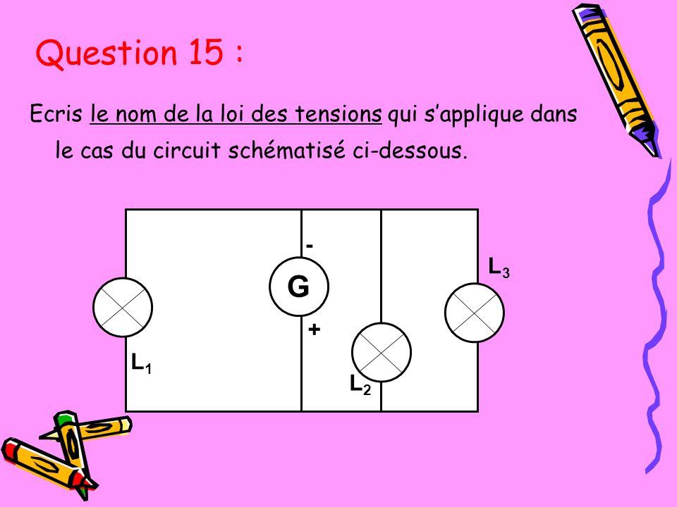Ecris le nom de la loi des tensions qui sapplique dans le cas du circuit schématisé ci-dessous. L3L3 L1L1 L3L3 - + G L2L2 L1L1 Question 15 :