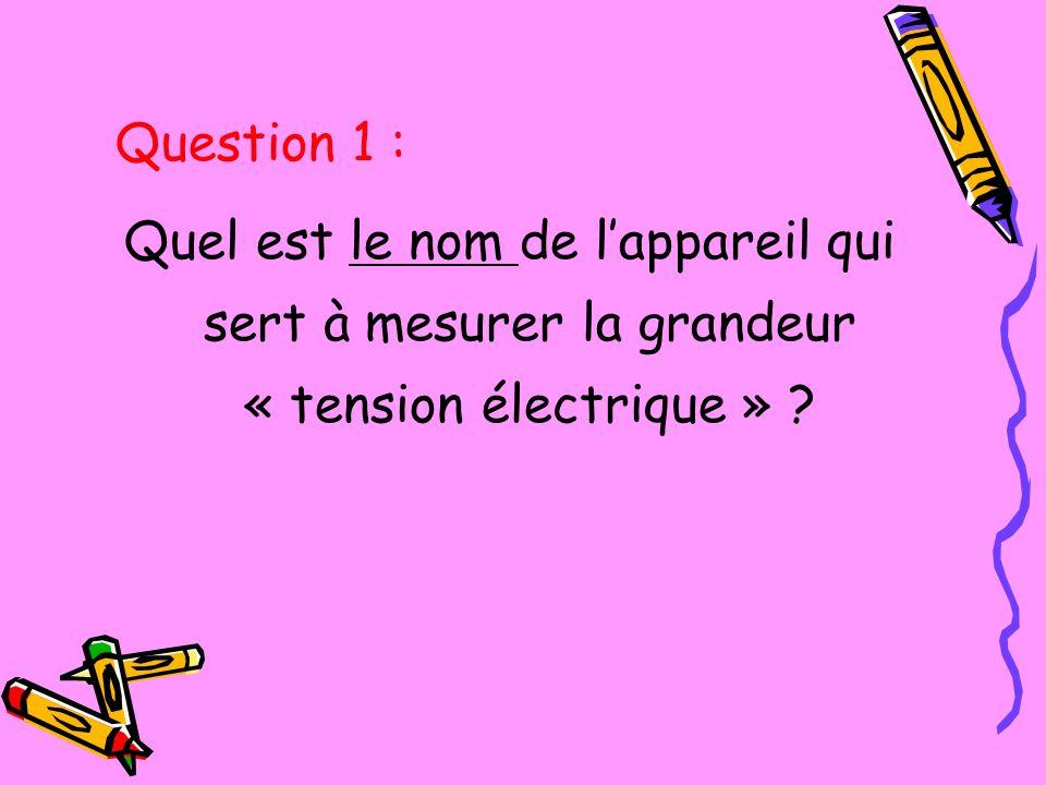 Quel est le nom de lappareil qui sert à mesurer la grandeur « tension électrique » ? Question 1 :