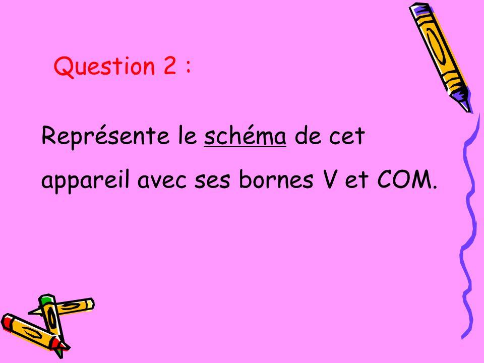 Représente le schéma de cet appareil avec ses bornes V et COM. Question 2 :