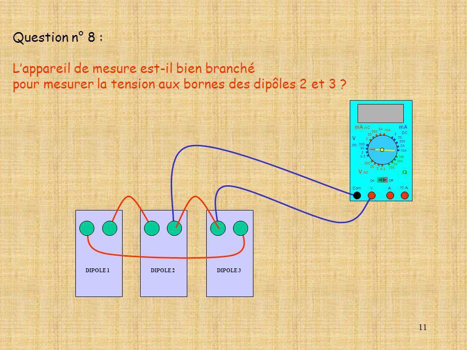 11 DIPOLE 1 10 A Com mA DC A OffOn 10A 2A 200 20 V 2 V AC mA AC V DC 2M 20k 2k 200 0.2 2 200 20 2 0.2 2 20 200 10A 2A 200 20 Question n° 8 : Lappareil
