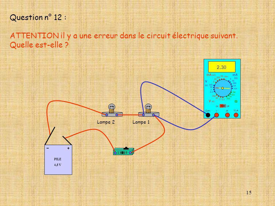 15 PILE 4,5 V + - 10 A 2. 30 Com mA DC A OffOn 10A 2A 200 20 V 2 V AC mA AC V DC 2M 20k 2k 200 0.2 2 200 20 2 0.2 2 20 200 10A 2A 200 20 10 Lampe 2Lam