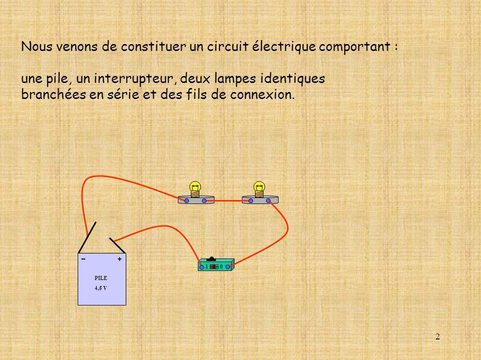 2 Nous venons de constituer un circuit électrique comportant : une pile, un interrupteur, deux lampes identiques branchées en série et des fils de con