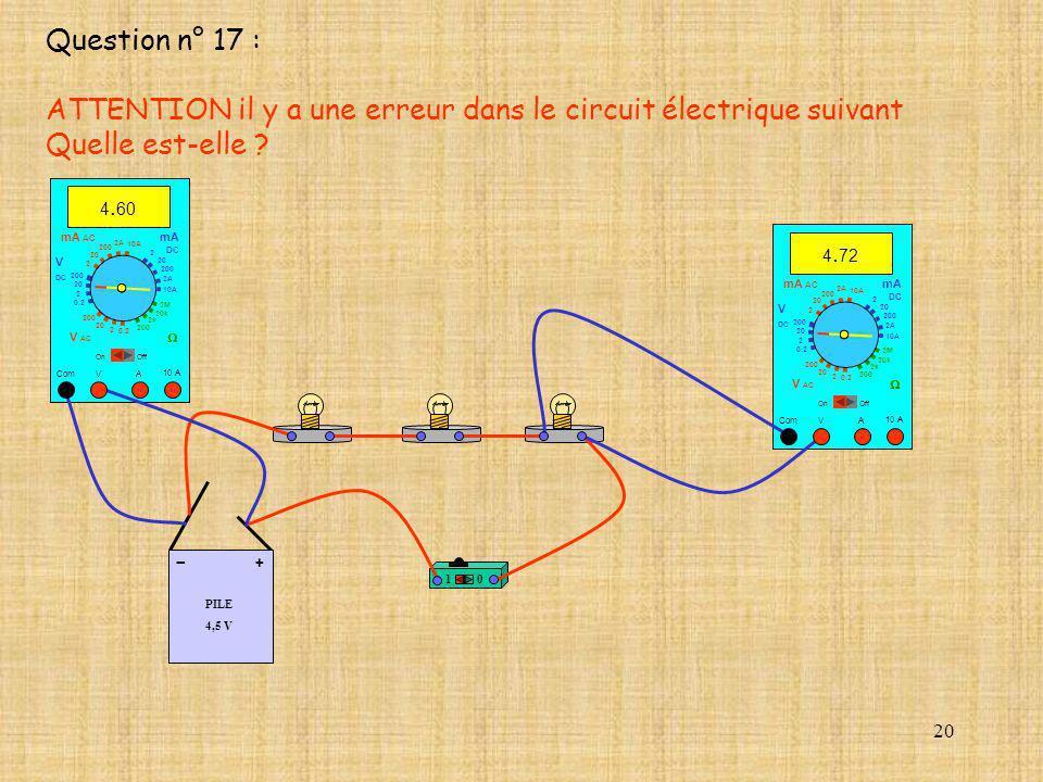 20 PILE 4,5 V + - 10 10 A 4. 72 Com mA DC A OffOn 10A 2A 200 20 V 2 V AC mA AC V DC 2M 20k 2k 200 0.2 2 200 20 2 0.2 2 20 200 10A 2A 200 20 10 A 4. 60