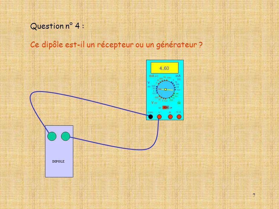 7 Question n° 4 : Ce dipôle est-il un récepteur ou un générateur ? DIPOLE 10 A Com mA DC A OffOn 10A 2A 200 20 V 2 V AC mA AC V DC 2M 20k 2k 200 0.2 2