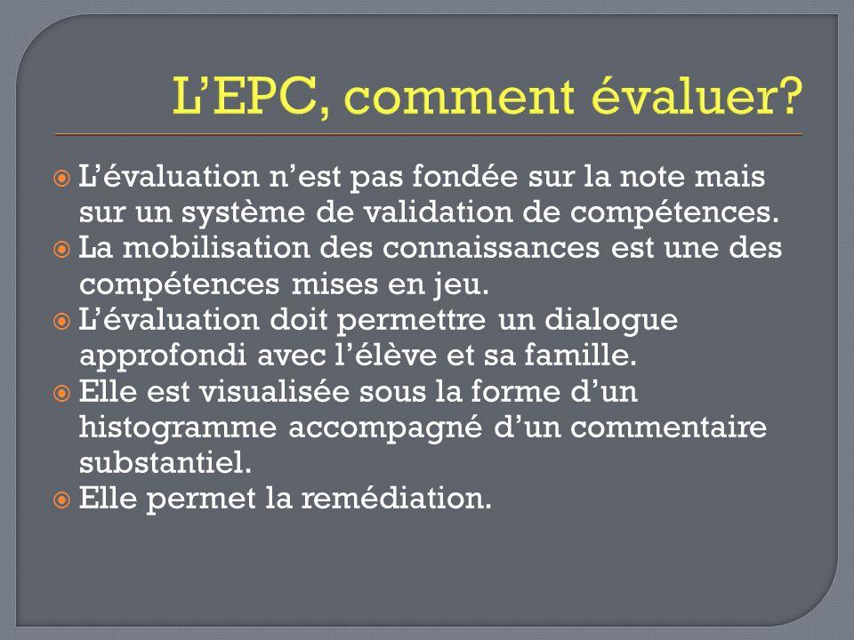 LEPC, comment évaluer? Lévaluation nest pas fondée sur la note mais sur un système de validation de compétences. La mobilisation des connaissances est
