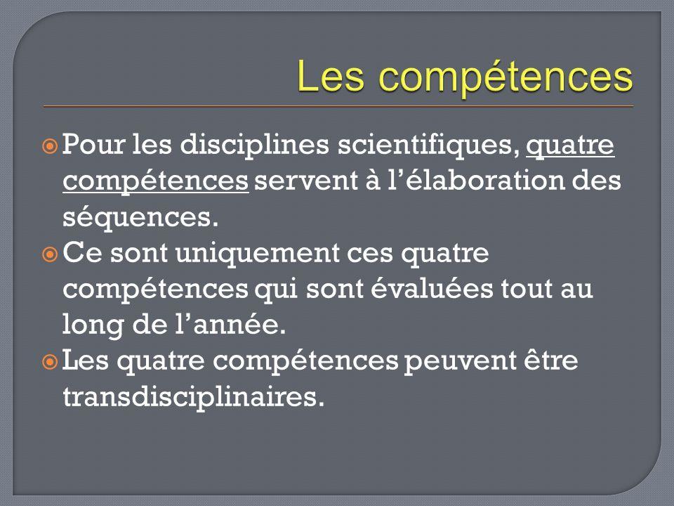 Quatre compétences: Re (réaliser) Ra (raisonner, argumenter) Mo (mobilisation des connaissances) Co (communiquer) Ces compétences sont déclinées et explicitées dans une grille: la grille de compétences.la grille de compétences.