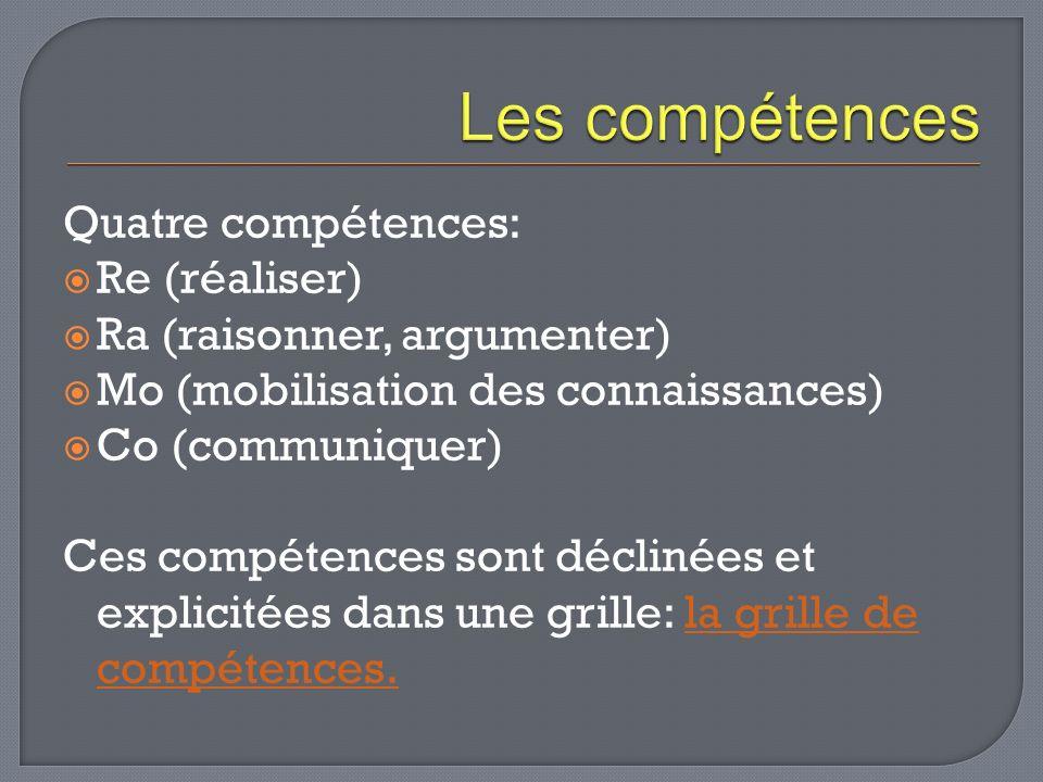 Quatre compétences: Re (réaliser) Ra (raisonner, argumenter) Mo (mobilisation des connaissances) Co (communiquer) Ces compétences sont déclinées et ex