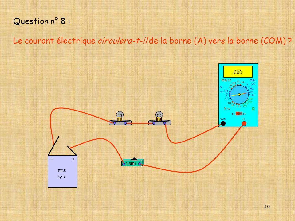 10. 000 Com mA DC A OffOn 10A 2A 200 20 2 V AC mA AC V DC 2M 20k 2k 200 0.2 2 200 20 2 0.2 2 20 200 10A 2A 200 20 10 PILE 4,5 V + - Question n° 8 : Le