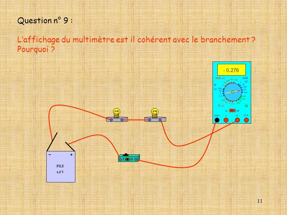 11 10 A - 0. 276 Com mA DC A OffOn 10A 2A 200 20 V 2 V AC mA AC V DC 2M 20k 2k 200 0.2 2 200 20 2 0.2 2 20 200 10A 2A 200 20 10 PILE 4,5 V + - Questio