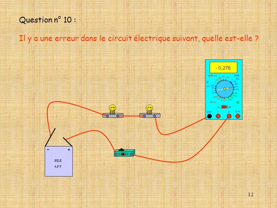 12 10 A - 0. 276 Com mA DC A OffOn 10A 2A 200 20 V 2 V AC mA AC V DC 2M 20k 2k 200 0.2 2 200 20 2 0.2 2 20 200 10A 2A 200 20 10 PILE 4,5 V + - Questio