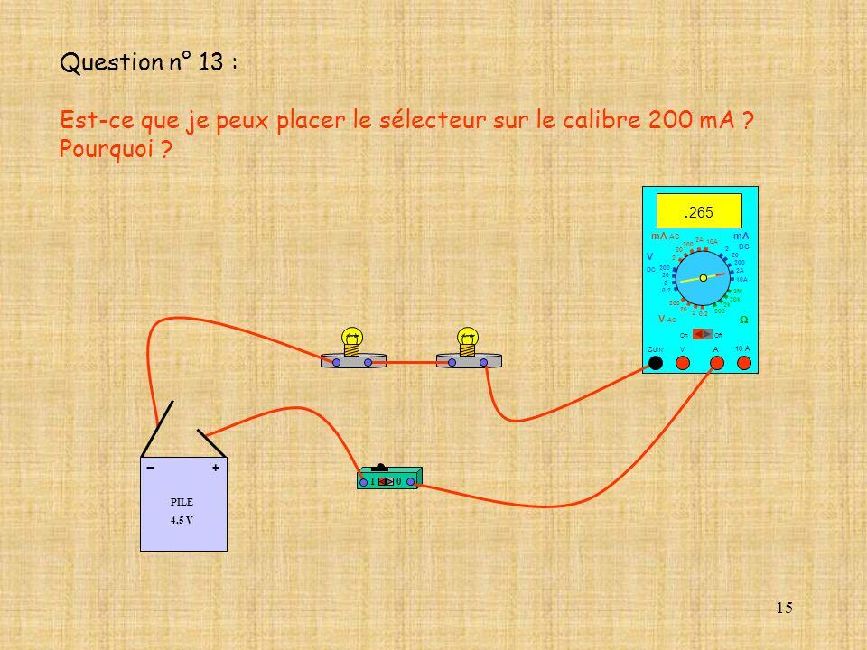 15 10 A. 265 Com mA DC A OffOn 10A 2A 200 20 V 2 V AC mA AC V DC 2M 20k 2k 200 0.2 2 200 20 2 0.2 2 20 200 10A 2A 200 20 10 PILE 4,5 V + - Question n°