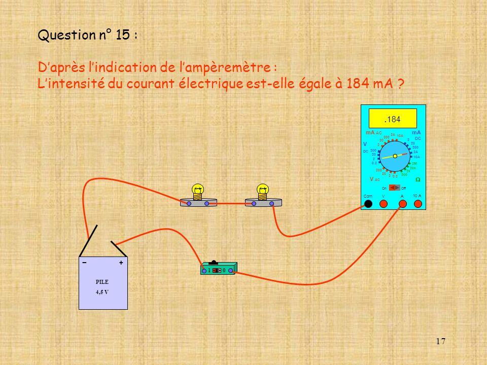 17 10 A. 184 Com mA DC A OffOn 10A 2A 200 20 V 2 V AC mA AC V DC 2M 20k 2k 200 0.2 2 200 20 2 0.2 2 20 200 10A 2A 200 20 10 PILE 4,5 V + - Question n°