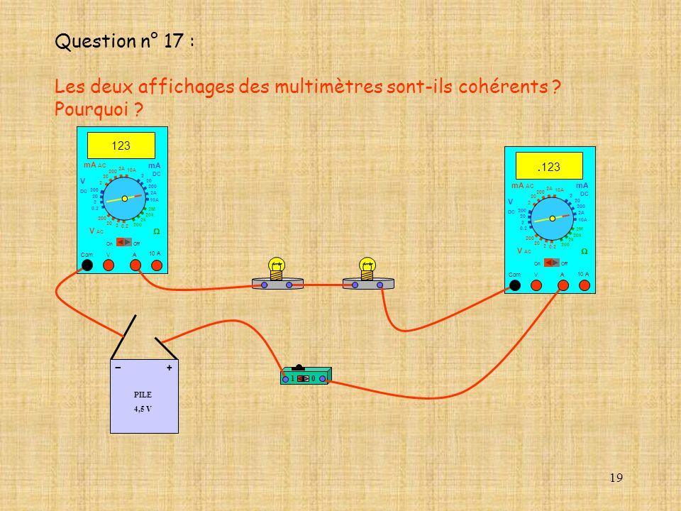 19 PILE 4,5 V + - 10 A. 123 Com mA DC A OffOn 10A 2A 200 20 V 2 V AC mA AC V DC 2M 20k 2k 200 0.2 2 200 20 2 0.2 2 20 200 10A 2A 200 20 10 A 123 Com m