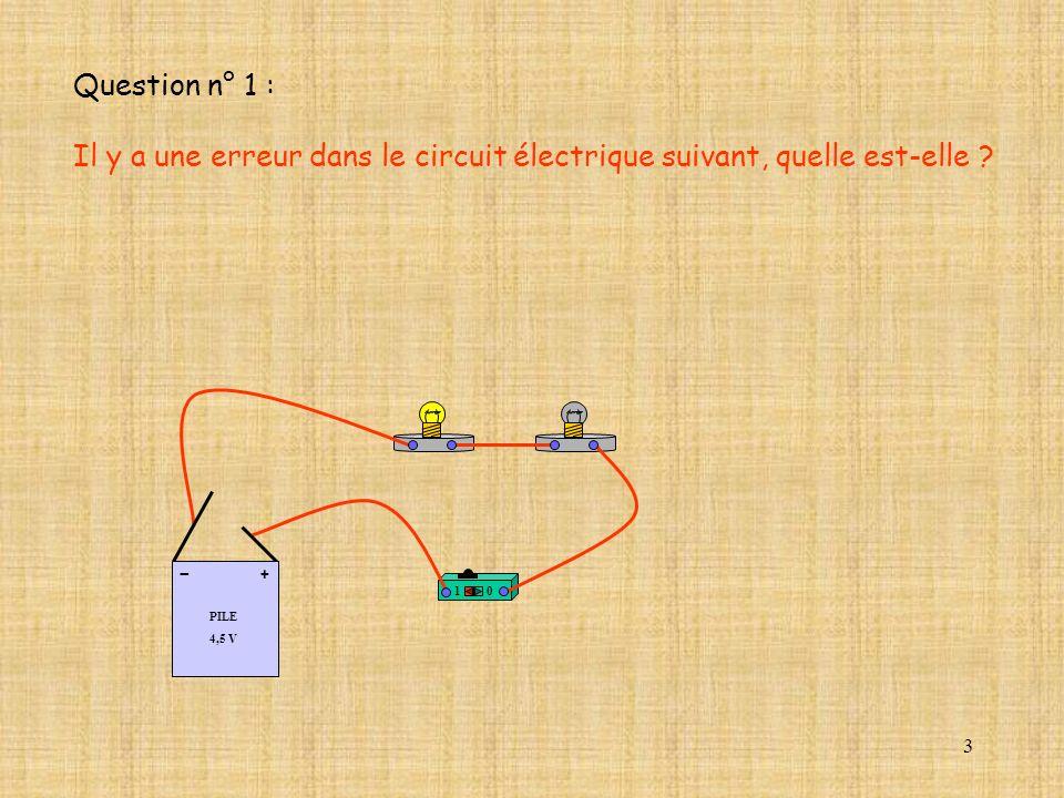 3 10 PILE 4,5 V + - Question n° 1 : Il y a une erreur dans le circuit électrique suivant, quelle est-elle ?
