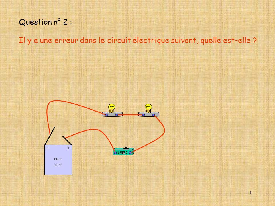 4 10 PILE 4,5 V + - Question n° 2 : Il y a une erreur dans le circuit électrique suivant, quelle est-elle ?