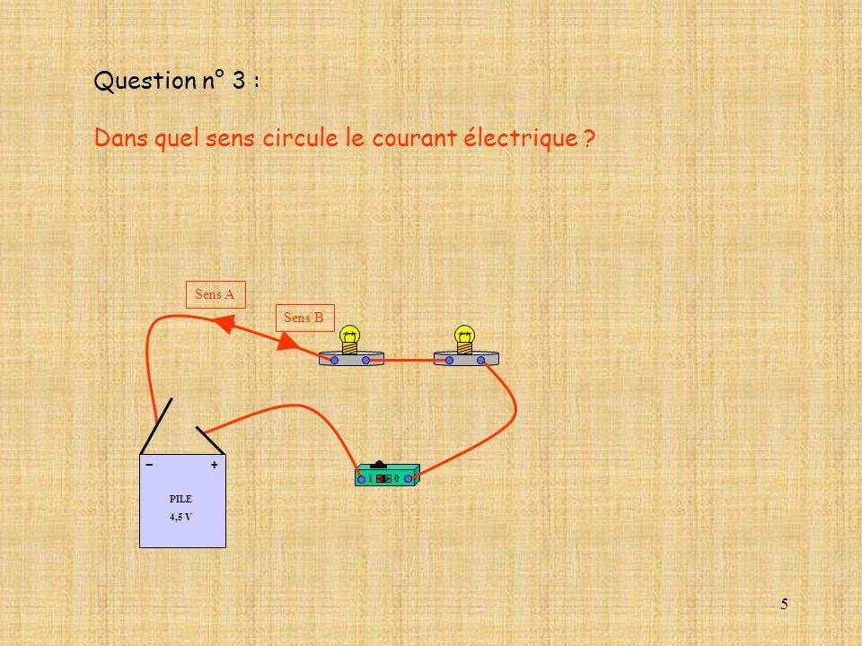 5 Question n° 3 : Dans quel sens circule le courant électrique ? 10 PILE 4,5 V + - Sens A Sens B